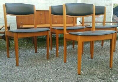 Vintage Mid Century Danish Style Set of 4 Teak Dining Chairs