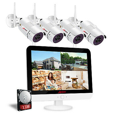 "ANRAN 15""LCD Monitor Wireless Security Camera System 8CH 1080P HDMI 1TB HDD NVR"
