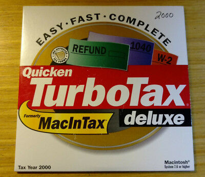 2000 Intuit TurboTax Deluxe by Quicken for Mac 7.6 or higher