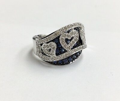 14k White Gold Diamond Heart Ring With Blue Sapphire Size 7