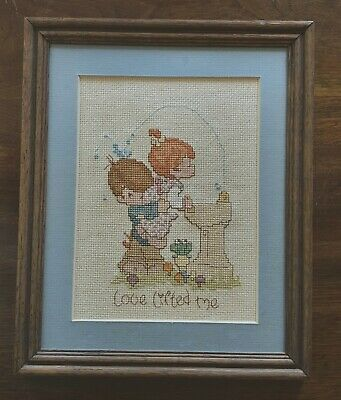 VINTAGE PRECIOUS MOMENTS Counted Cross Stitch Completed & Framed Love Lifted Me