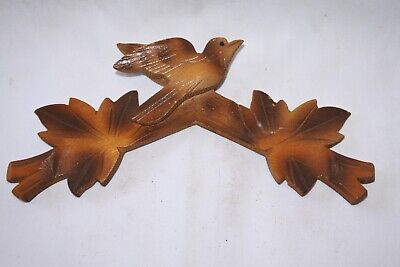 "Vintage Wooden Leaves Birds Cuckoo Clock Parts Top Topper Trim 6 3/16"" #13bt .."
