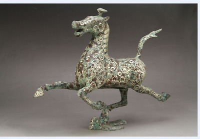 Ancient Chinese bronze liu yingao head horse, the horse step flying yan,