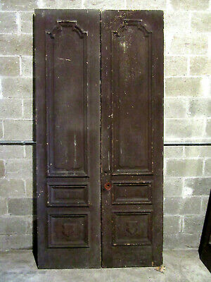 ~ ANTIQUE CARVED DOUBLE ENTRANCE FRENCH DOORS  ~ 47 x 96 ~ SALVAGE ~