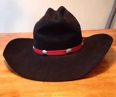 c543fad7104 VINTAGE EDDY BROS BLACK 100% Wool Cowboy Hat - Weathered 7 3 8 ...