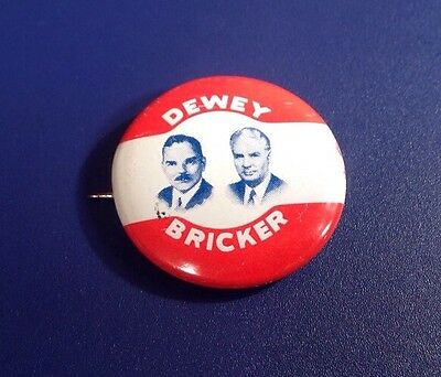 1944 Dewey Bricker Political Presidential Candidate Republican Party Pin (J42)
