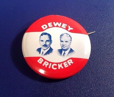 1944 Dewey Bricker Political Presidential Candidate Republican Party Pin (J45)