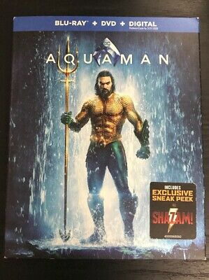 DC AQUAMAN (BLU-RAY & DVD 2019) Case+Artwork+Slipcover INCLUDED!!!