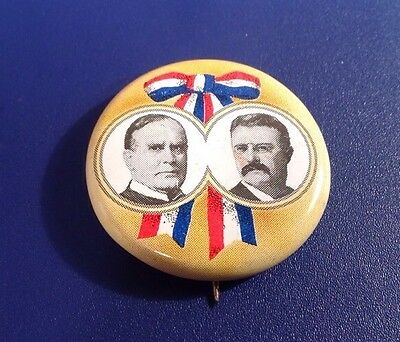 "Reproduction ""McKinley & Roosevelt"" Campaign Pin Tin Litho 1900 (J55)"