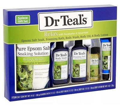 Dr Teals Relax with Eucalyptus & Spearmint 5-Piece Bath Gift Set. Free Shipping!
