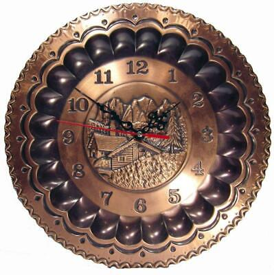 Wall Clock Pressed Copper Mountain Alps Working 29 cm