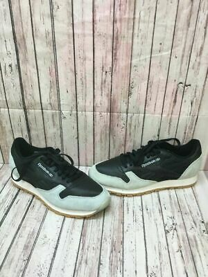 997d0ed8a53 Reebok Classic Black Leather Gray Suede Lace Up Low Top Shoes Men s Size 11