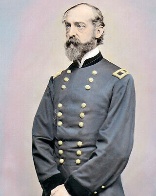 """UNION GENERAL GEORGE GORDON MEADE 1860 CIVIL WAR 8x10"""" HAND COLOR TINTED PHOTO"""