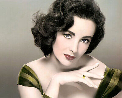 """Elizabeth Taylor Actress Hollywood Movie Star 8X10"""" Hand Color Tinted Photograph"""