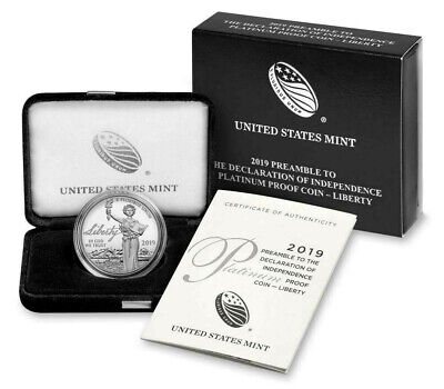 2019 $100 Proof PLATINUM Preamble to Declaration of Independence US Mint BOX COA