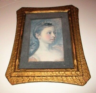 Vintage The Painter's Daughter Mary Print Thomas Gainsborough Antique Gold Frame