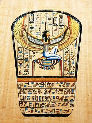 100% Handmade Egyptian Papyrus Painting, Goddess Isis Painting 16×12 inch