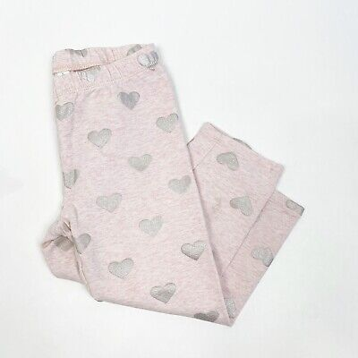 Gap Kids Girls Thick Silver Heart Pink Cozy Cropped Leggings Size Large (10)