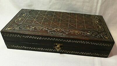 Antique/Vintage wooden jewellery box decorated shells S29 X 15 X6cm