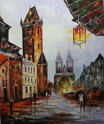 Original knife Hand Painted Prague Oil painting Wall art Deco On Canvas prg012