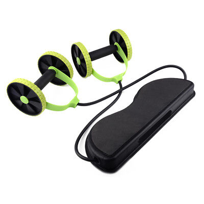 Double Wheels Ab Roller Pull Rope Waist Abdominal Slimming Equipment Gym Fitness