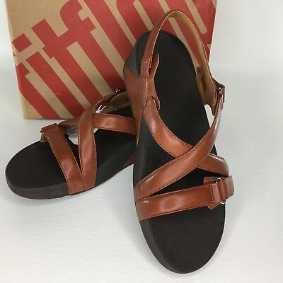 927283c01a5 FITFLOP Womens Back Strap Leather Sandals The Skinny Criss Cross Dark Tan  Size 9