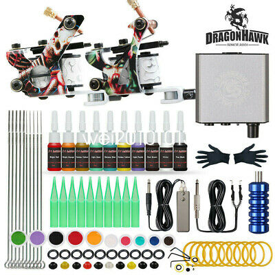 Tattoo Kit 2 Machines Guns 20 Color inks Power Supply Needles Tips Grip D175-15