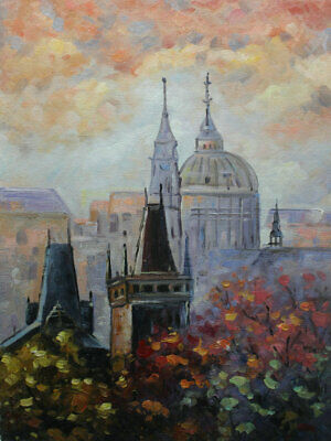 Modern Hand Painted Cityscape Prague Oil painting Wall art Deco On Canvas prg124