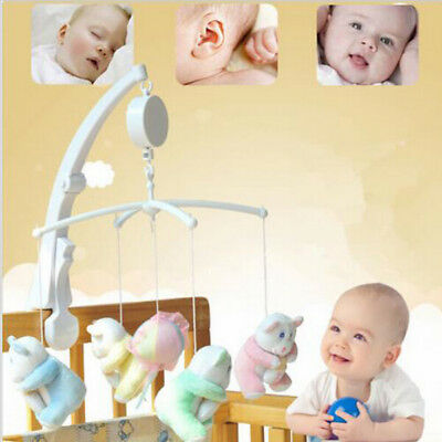 Baby Crib Bed Arm Mobile Bell + Holder Music Box Wind-up DIY Christmas Gift