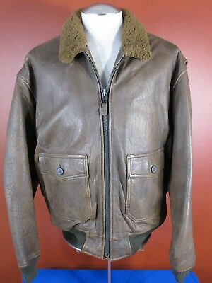 21f3d2666 VINTAGE AVIREX LIMITED Type G1 US Navy Bomber Leather Jacket Size L 1987  Year