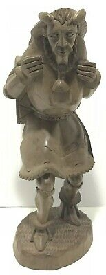 Vintage Wood Hand Carved Viking Norseman Ancient Warrior Figure Folk Art