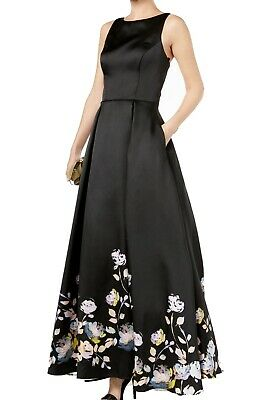 c617ba03 Betsy & Adam NEW Black Womens Size 12 Floral-Print Pleated Gown Dress $369  285