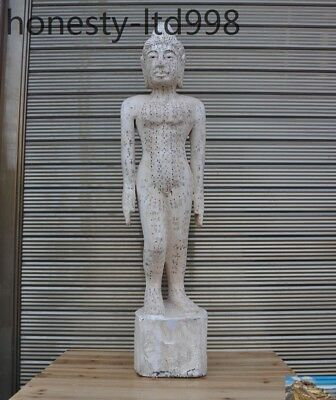 China Old Wood Carved Traditional Chinese Medicine TCM acupuncture Woman Statue
