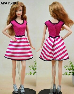 "Pink Striped Vest Dress For 11.5"" Doll Clothes Pretty Fashion A-line Dresses 1/6"