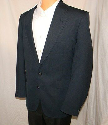 Palm Beach Navy Blue Blazer 2 Button Half Lined Center Vented Jacket Coat 42 L