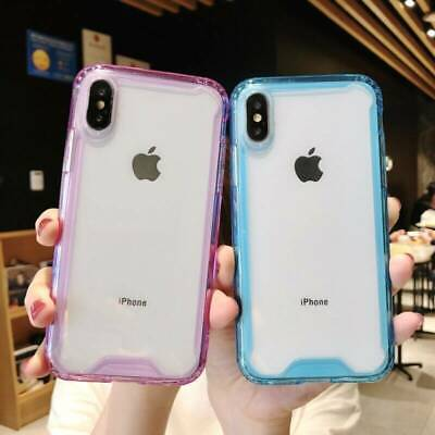 For Apple iPhone XS Max XR X Hybrid Shockproof Thin Clear TPU Bumper Case Cover