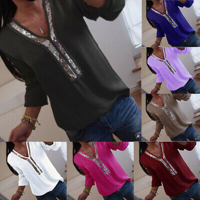 Womens Ladies Stretchy Long Sleeves V Neck Tee T-shirt Sequin Loose Top Blouse