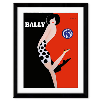 Bally Framed Canvas Print Vintage Art Wall Art Poster Modern Home Decor Fashion
