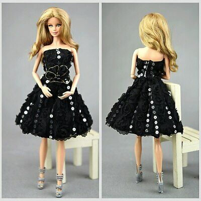 "Doll Clothes Lace Rose Flower Black Little Dress Evening Dress for 11.5"" Doll"