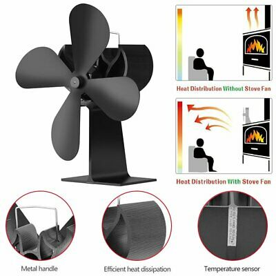 4-Blade Heat Powered Wood Stove Fan with Temperature Gauge for Fireplace Heaters