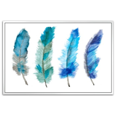 Blue Feathers Shadow Framed Canvas Art Print Modern Home Decor Wall Art Elegant