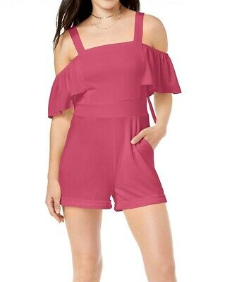 6c03c6169d6 XOXO NEW Raspberry Pink Womens Size Medium M Cold Shoulder Romper $59 206