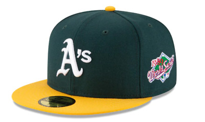outlet store 29267 c41af New Era Green - Yellow Oakland Athletics 1989 World Series Patch Fitted hat