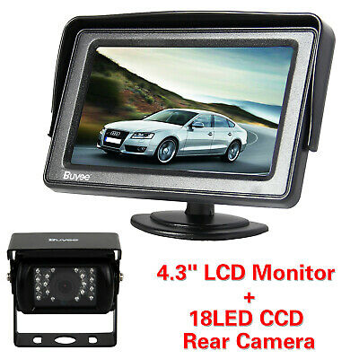 "4.3"" TFT LCD Monitor+18LED IR Reversing Camera 135° Car Bus Rear View Kit 12-24V"