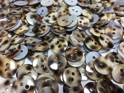 """50 VERY RARE BROWN WASHIBODO SHELL BUTTONS 13mm 1//2/"""" 2hole"""