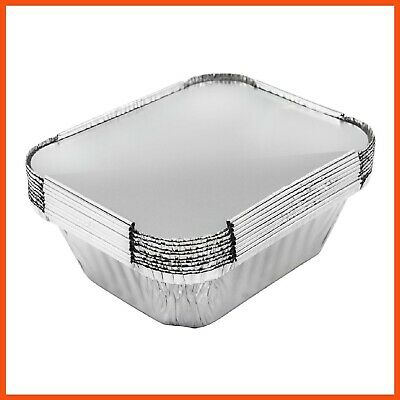 SMALL FOIL CONTAINER WITH LIDS 15x12x5cm Disposable Food Container Takeaway Tray