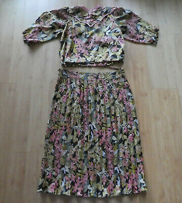 Vintage 1980s Diane Freis Skirt and Matching Top Made in Hong Kong Size M