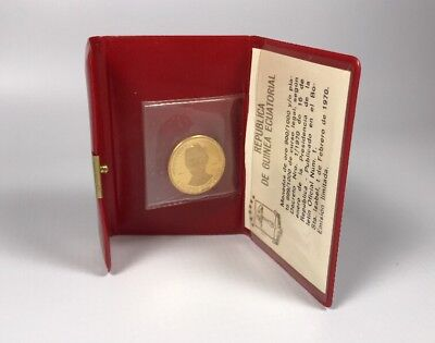 Equatorial Guinea 1970 500 Pesetas Gold Coin with Coin Pouch Abe Lincoln