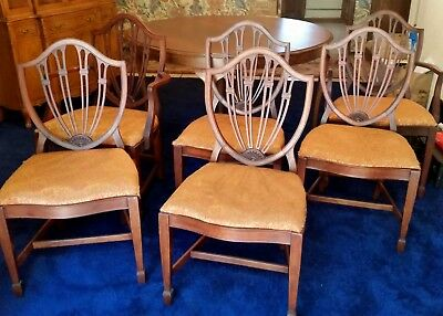 6 Hepplewhite Shield Back Dining Room Chairs - CAN SHIP