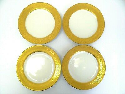 Vintage Gold White Porcelain Limoges France French China Saucers Plates Dishes